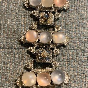 1950's Pastel Pearl & Rhinestone Bracelet Silver